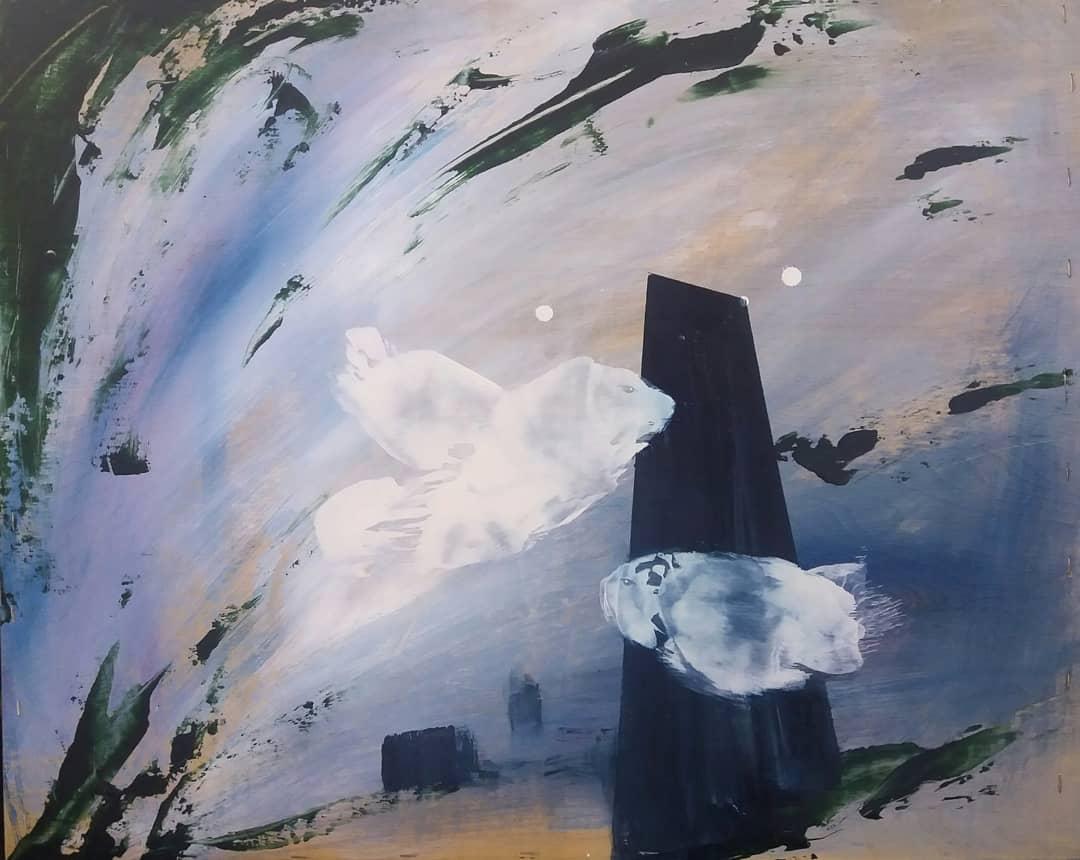 Alasaarela/ Hannula: Flow, akryyli- ja vahamaalaus 2018